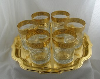 Stunning Gold Rimmed and Etched Glassware and Tray