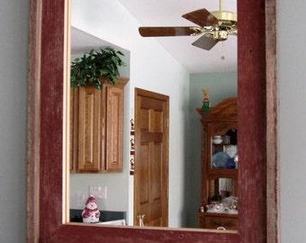 Barnwood Window Mirror  with Shelf & Hooks
