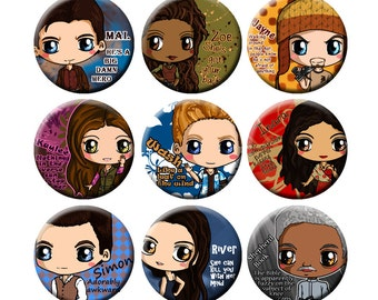 Firefly Chibi Button Set - Malcolm Reynolds, Zoe, Jayne, Kaylee, Wash, Inara, Simon, River Tam, Shepherd Book, Firefly button set