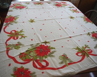 Vintage 1970s Printed Christmas Tablecloth: Poinsettia Holly Evergreen