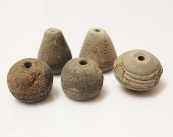 Antique African Clay Beads From Mali, Spindle Whorl Beads, Terra Cotta Beads