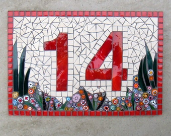 Custom Mosaic House Number, Sign, Plaque, Street Address, Yard Art, Bespoke Number,Digit, Outdoor,Wall hanging,ornament,Glass,door number,
