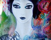 Portrait Woman Portrait Art Watercolor Portrait Wall Art Face Portrait Fine Art Contemporary Art Home Decor Blue Purple Pink Portrait Art