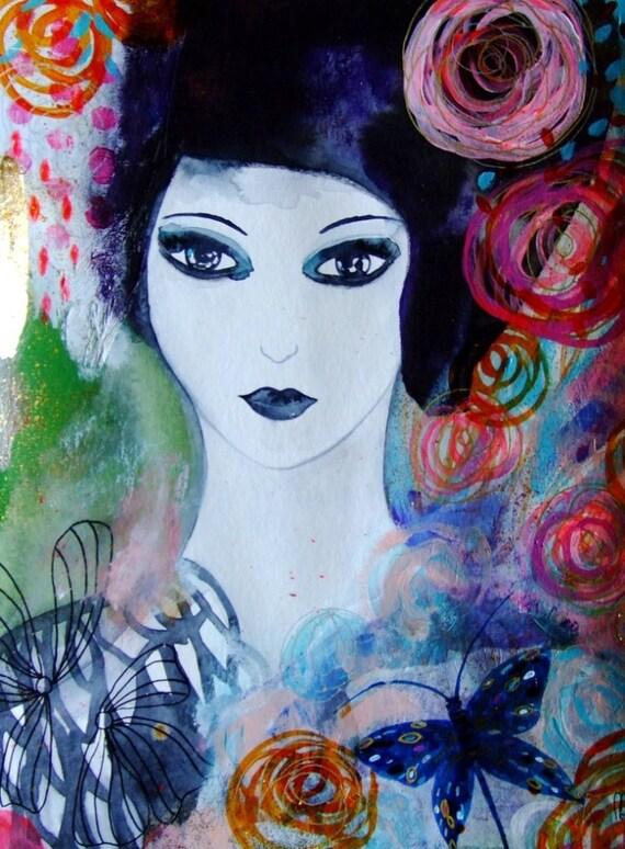 portrait femme fleurs papillon visage femme art contemporain. Black Bedroom Furniture Sets. Home Design Ideas