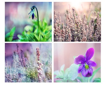 Purple Wall Art Prints, Flower Art, Purple and Teal, Nature Prints, Photography Set, Purple Wall Decor, Set of 4, Flower Prints
