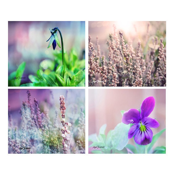 Items Similar To Teal Purple Abstract Flowers Wall Decor: Purple Wall Art Prints Flower Art Purple And Teal Nature