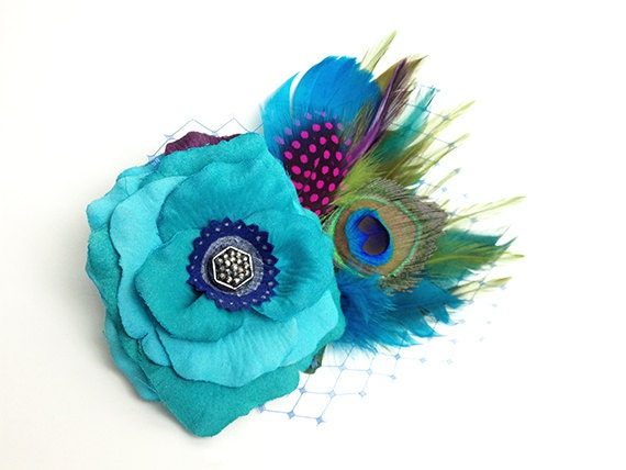 Turquoise Blue Prom Hair Clip Accessory Romantic Rose Fascinator Peacock Feather Antique Button original unique