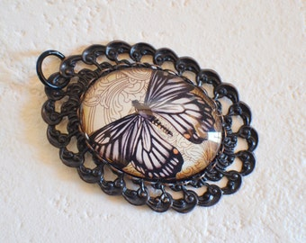 Brown Butterfly Pendant in Two Piece Black Brass Setting