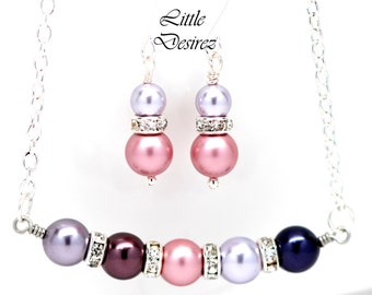 Pearl Jewelry Set Lavender Mauve Necklace & Earrings Swarovski Pearl Jewellery Bridesmaid Necklace Purple Pink Jewelry LAVENDER FAIRE-JS