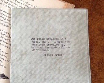 """Decoupaged glass tray, Robert Frost, """"Two roads diverged in a wood ..."""" poem, 1950's Remington typewriter"""