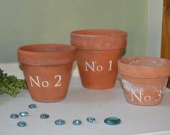 3 Vintage Clay Pots Farmhouse No 1-3