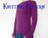 PDF Knitting Pattern - Heath Pullover, Sweater Knitting Pattern, Ladies Clothing Pattern, Bottom up Knitting Pattern