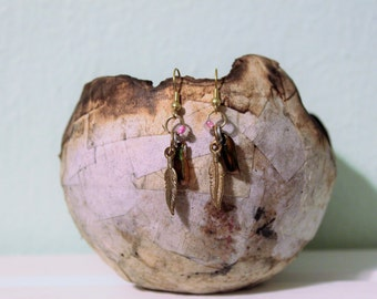 Gold Feather Beetle Shell Earrings