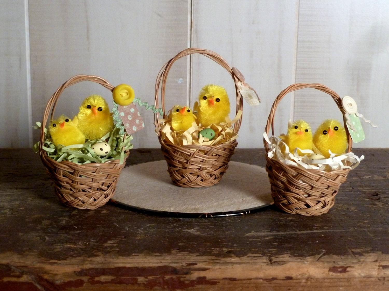 Easter Baskets 3 Small Brown Vintage Holiday Basket Set