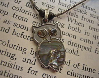 Vintage Liquid Silver and Abalone Owl Choker