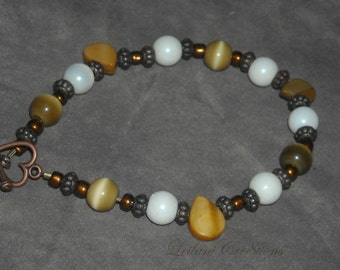 Bronze & Copper Glass Pearl Bracelet with dyed shell