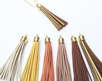 Fall Neutrals Suede Leather Tassel Necklace on Gold Chain- Brown, White, Gold- You Choose Color