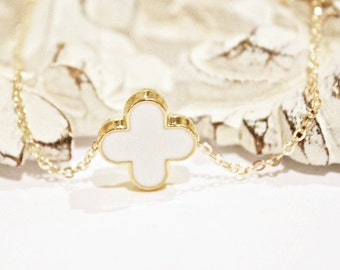White Modern Clover Necklace on Gold Chain