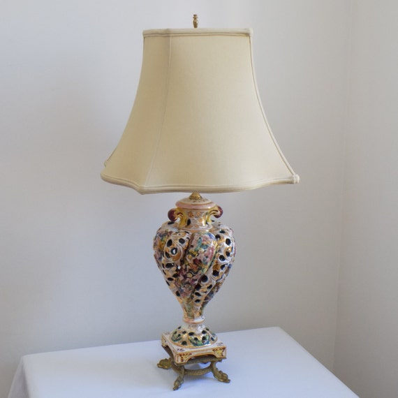 Antique Capodimonte Italy Hand Painted Porcelain Table Lamp