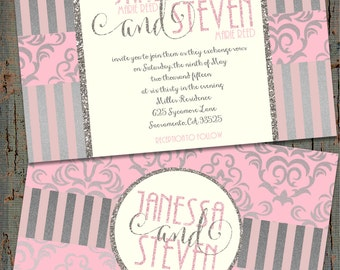 Pink and Silver Wedding Invitations, Pink Glitter Wedding Invitations, Pink and Silver Glitter Wedding Invitations, Pink Wedding Invitation