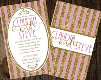 Pink and Gold Wedding Invitation, Gold Glitter Invitations, Glitter Invitations, Pink Glitter Invitations, Gold and Pink Glitter Wedding