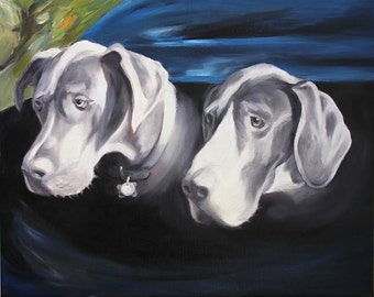 24x30 Dog Portrait Custom Painting on Canvas Fine Art from Photos