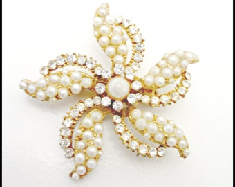 Flower Brooch with Gold tone metal pearls and rhinestone
