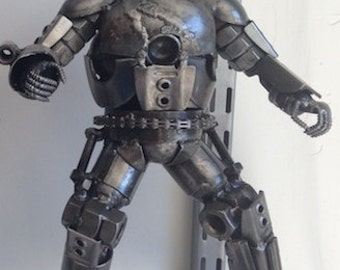 "Hand Made IRONMAN MARK 1 12""  Recycled Scrap Metal Sculpture"