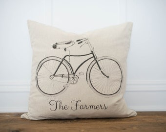 Bicycle custom name pillow cover