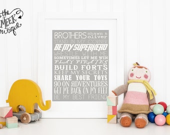 Personalized Brother Printable, Chalkboard, No. 267