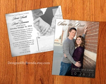 Modern Save the Date (STD) Postcards - Free Shipping - With Photos on both sides - Can also be Wedding Thank You Cards or Announcements