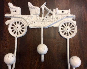Ol'timey car coat/towel hook in WHITE distressed.