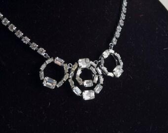 1970 rhinestone necklace w/ quartet of circles. Playful, elegant, classy. It does it all