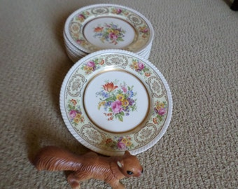 RARE-Vintage Johnson Brothers England-BY-Belford-Dinner Plate/Dish-Gold Floral/Roped Edge