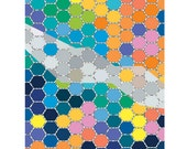 Honeycomb Art Print Geometric Art Hexagon Pattern Multicolor Mixed Media  Illustration / 8x10inches