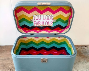 Suitcase Cosmetic Train Case : Vintage / Carry on Luggage / Upcycled with New Fabric Lining / Blue
