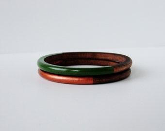 Geometric Skinny Wood bangle Set Green and Copper.