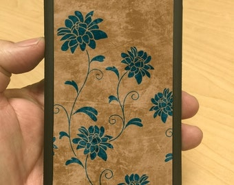 iPhone Case Blue Flower and Brown Grunge iPhone 6/6+ iPhone 5/5s iPhone 4/4s