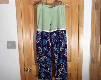 Funky Lime Terrycloth and Luscious Doubleknit Wide Leg Lounge Pants size Medium