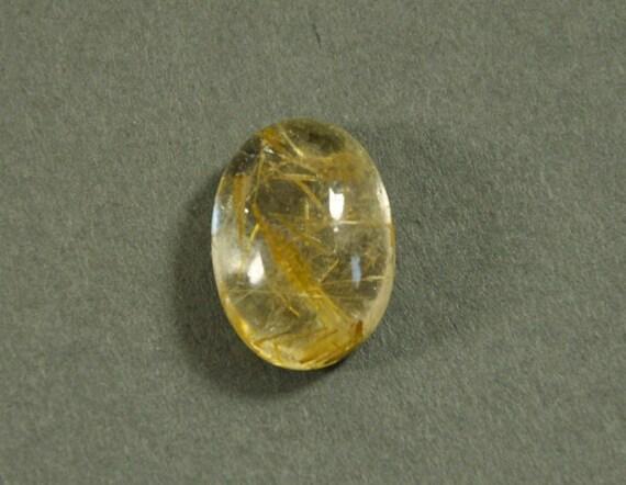 Golden Rutilated quartz - oval designer cabochon - 14x10mm - #s179
