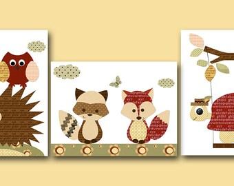 Baby Nursery Decor Baby Boy Nursery Decor Kids Art Children Art Print Baby Nursery Print Fox Turtle Hedgehog Badger Red Brown Set of 3