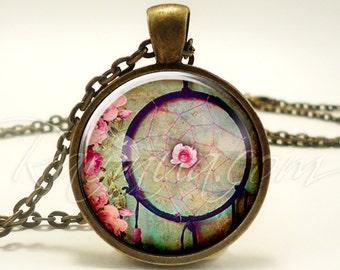 Bohemian Dream Catcher Necklace, Gypsy Pendant, Hippy Jewelry (1935B1IN)