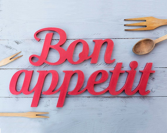 bon appetit sign wooden sign kitchen decor restaurant bar. Black Bedroom Furniture Sets. Home Design Ideas