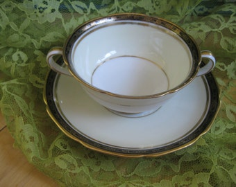 Antique Noritake Goldany Bouillon Cup and Saucer  Good to Fair, Early  backstamp,