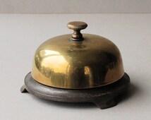 Victorian Russell and Erwin brass desk bell, Twist top butlers bell, American Desk top bell
