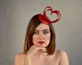 Crimson Red Heart Fascinator - Red Cocktail Hat - Valentines Day - Wedding Hat - Cream Fascinator
