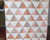 Modern patchwork orange brown white quilt  boy baby toddler crib quilt blanket