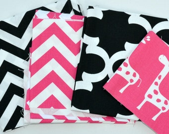 Fabric Scraps Bundle -  Candy Pink Black White - Canopy Stripes Zig Zag Fynn Giraffe  - Home Decor Premier Prints REMNANT CUTS