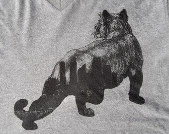 50% OFF - Urban Animal - Wild City Silhouette - Screenprinted in Black on a Heathered Medium Gray V-neck 100 Cotton Tshirt