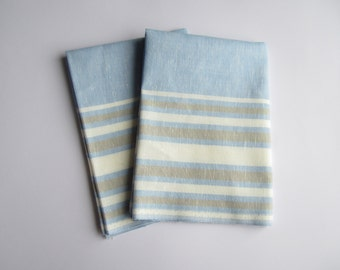 Blue striped linen kitchen towel set of 2 with cotton, kitchen towels, tea towel, linen hand towel, dish towels, linen tea towel, hand towel